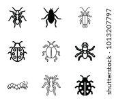 bug icons. set of 9 editable... | Shutterstock .eps vector #1013207797