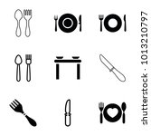 dishware icons set of 9