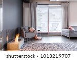 patterned carpet and grey... | Shutterstock . vector #1013219707