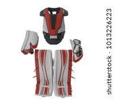 hockey goalie protection kit on ...   Shutterstock . vector #1013226223