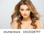 woman model. naked neck and... | Shutterstock . vector #1013228797