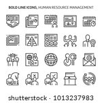 human resources  bold line... | Shutterstock .eps vector #1013237983