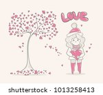 cute cartoon girl and tree with ... | Shutterstock .eps vector #1013258413