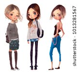 cute fashion girls | Shutterstock . vector #1013281567
