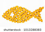 oil capsules arranged in a fish ... | Shutterstock . vector #1013288383