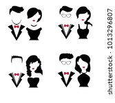 set of silhouettes couple for... | Shutterstock .eps vector #1013296807