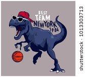 basketball player dinosaur... | Shutterstock .eps vector #1013303713
