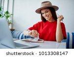 portrait of cheerful female...   Shutterstock . vector #1013308147