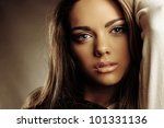 Portrait of beautiful gir in fashion style - stock photo