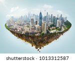 fantasy island floating in the... | Shutterstock . vector #1013312587
