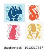 vector flat cute funny hand... | Shutterstock .eps vector #1013317987