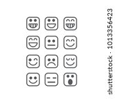 square emoticon vector set | Shutterstock .eps vector #1013356423