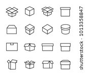 set of 16 box thin line icons.... | Shutterstock .eps vector #1013358847