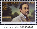 Small photo of UNITED STATES OF AMERICA - CIRCA 1995: A stamp printed in USA shows Tennessee Williams, circa 1995