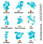vector maps and flags of europe ... | Shutterstock .eps vector #1013370547