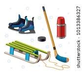 retro wooden sled  stick  puck  ... | Shutterstock .eps vector #1013386327