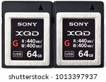 Small photo of Khon kaen, Thailand - January 10,2018: Modern professional Sony 64 GB XQD Memory Card G Series 400MB/s Memory Card features 128GB Storage Capacity, capacity ready to be used in Nikon D5