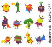 superhero fruits vector fruity... | Shutterstock .eps vector #1013414077