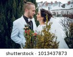happy stylish rustic wedding... | Shutterstock . vector #1013437873