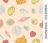 Seamless pattern with marine seashells - stock vector