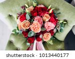 bridal bouquet with a peach and ...   Shutterstock . vector #1013440177