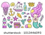 mermaid  jellyfish  cute sea... | Shutterstock .eps vector #1013446093