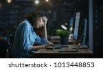 tired  overworked female... | Shutterstock . vector #1013448853
