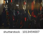 storage of packed parachutes in ... | Shutterstock . vector #1013454007
