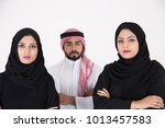 two arab females with one male... | Shutterstock . vector #1013457583