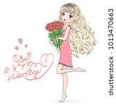 hand drawn beautiful  cute ...   Shutterstock .eps vector #1013470663