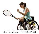 one caucasian young handicapped ... | Shutterstock . vector #1013473123