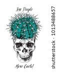 humor card. round cactus in...   Shutterstock .eps vector #1013488657