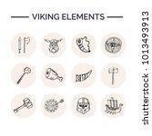 viking elements hand drawn... | Shutterstock .eps vector #1013493913