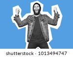 crazy hipster guy emotions.... | Shutterstock . vector #1013494747