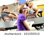 happy teenage middle school or... | Shutterstock . vector #101350513