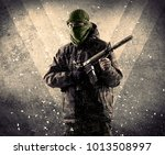 portrait of a dangerous masked... | Shutterstock . vector #1013508997