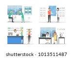 people at eyeglasses store set. ... | Shutterstock . vector #1013511487