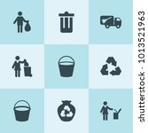set of 9 trash filled icons... | Shutterstock .eps vector #1013521963