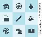 set of 9 auto filled icons such ... | Shutterstock .eps vector #1013522593