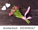 Bouquet Of Pink Tulips With...