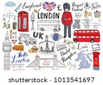 london city doodles elements... | Shutterstock .eps vector #1013541697