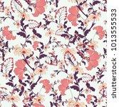 oriental ditsy flower seamless... | Shutterstock .eps vector #1013555533