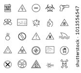 warning and hazard icons set... | Shutterstock .eps vector #1013556547