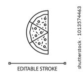 half of pizza linear icon. thin ... | Shutterstock .eps vector #1013574463