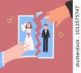divorcement. man and woman hand ... | Shutterstock .eps vector #1013575747