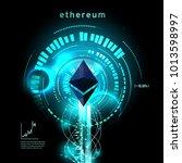 ethereum symbol . circuit line... | Shutterstock .eps vector #1013598997