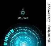 ethereum symbol . circuit line... | Shutterstock .eps vector #1013599003