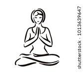 yoga pose illustration on white ...   Shutterstock .eps vector #1013639647