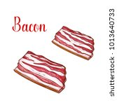 bacon lumpos or slices meat... | Shutterstock .eps vector #1013640733
