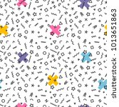 memphis seamless pattern with...   Shutterstock .eps vector #1013651863
